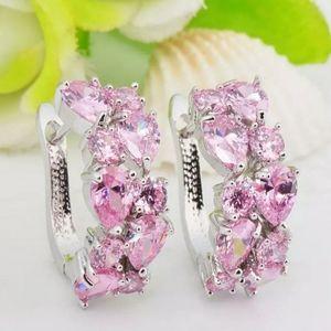 🎀925 Pink Sapphire Hoop Earrings